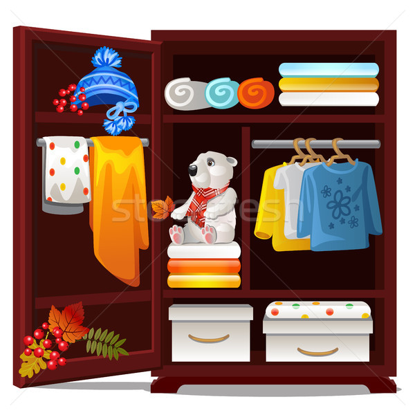 Houten garderobe objecten najaar geïsoleerd witte Stockfoto © Lady-Luck