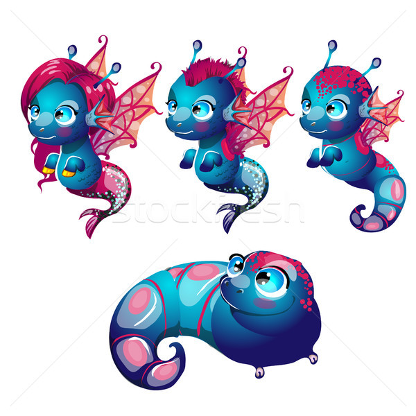Set fantasy cartoon seahorse isolated on a white background. Stages of transformation from larvae in Stock photo © Lady-Luck