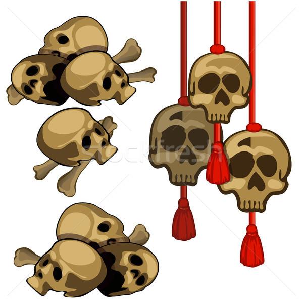 Szett emberi koponyák akasztás piros kötél Stock fotó © Lady-Luck