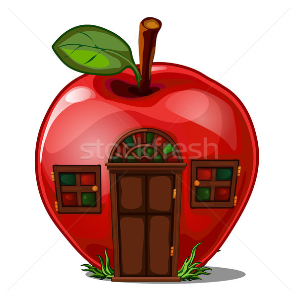 Fairy house in the shape of an apple isolated on a white background. Vector illustration. Stock photo © Lady-Luck