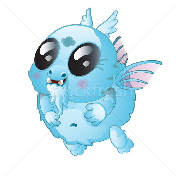 A small fantasy creature isolated on white background. Vector cartoon close-up illustration. Stock photo © Lady-Luck