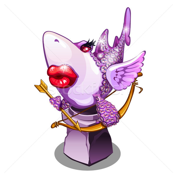 A souvenir in the form of a shark in love, inspired by love, isolated on white background. Statuette Stock photo © Lady-Luck