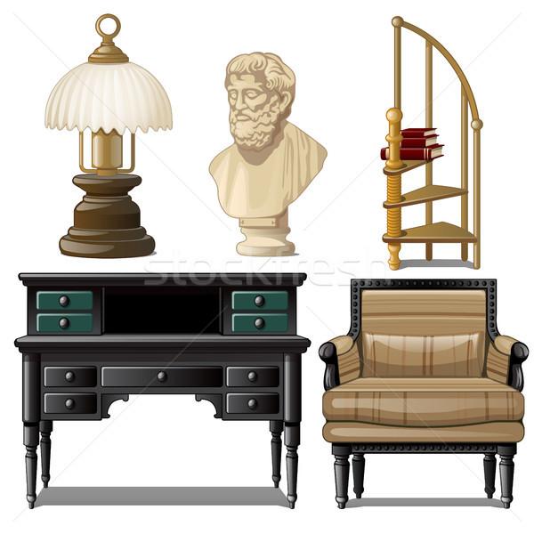Foto stock: Objetos · mobiliário · vintage · interior · isolado · branco