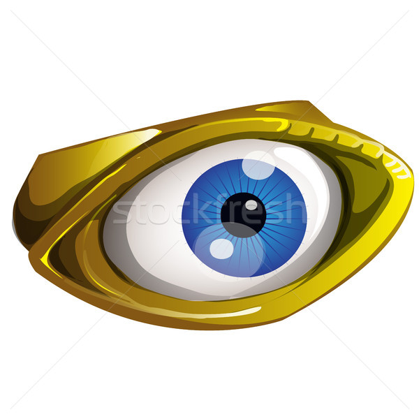 Golden all seeing eye made of gold isolated on a white background. Vector cartoon close-up illustrat Stock photo © Lady-Luck