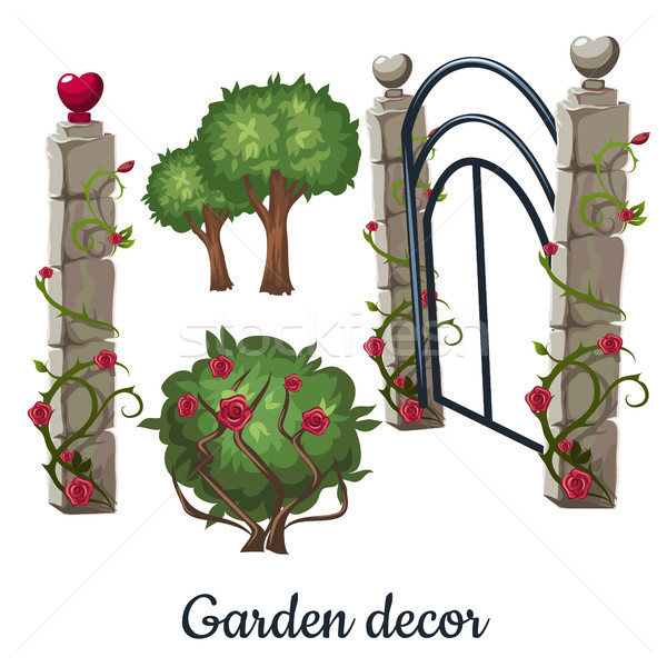 Stone gate overgrown with roses. Garden decor. Vector illustration. Stock photo © Lady-Luck