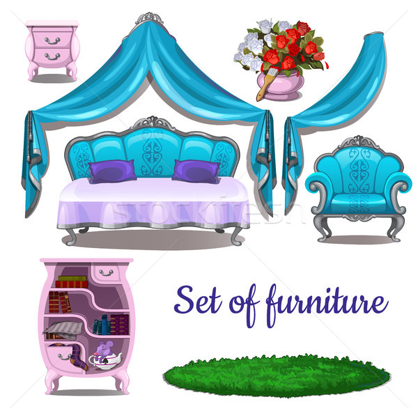 Vintage interior. Antique furniture isolated on white background. Vector cartoon close-up illustrati Stock photo © Lady-Luck