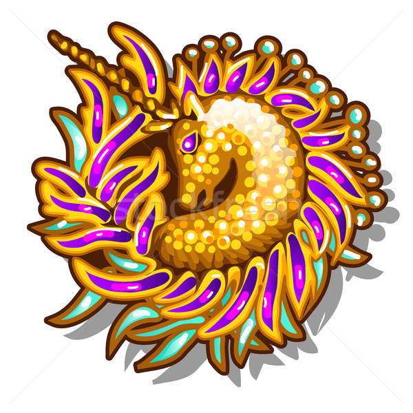 Brightly decorated jewelry in the form of brooches or pendants with a picture of a Golden unicorn is Stock photo © Lady-Luck