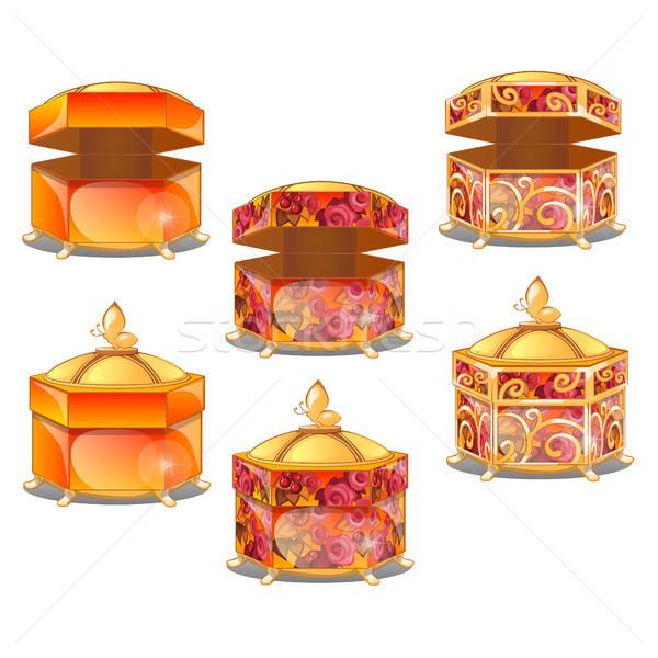 Ayarlamak hediye kutuları altın model yalıtılmış beyaz Stok fotoğraf © Lady-Luck