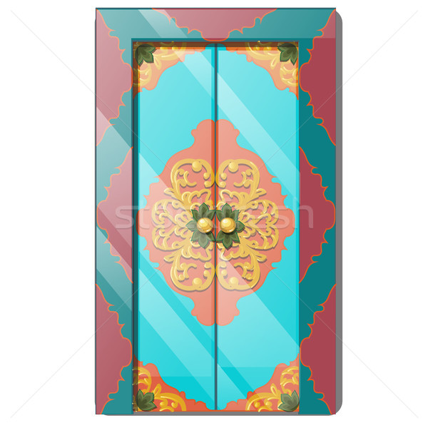 Entrance door with exquisite ornamentation. Vector illustration. Stock photo © Lady-Luck