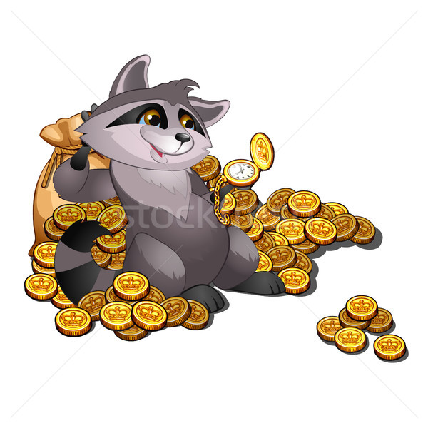 Rich raccoon loan shark lies on a pile of gold coins. Vector illustration. Stock photo © Lady-Luck