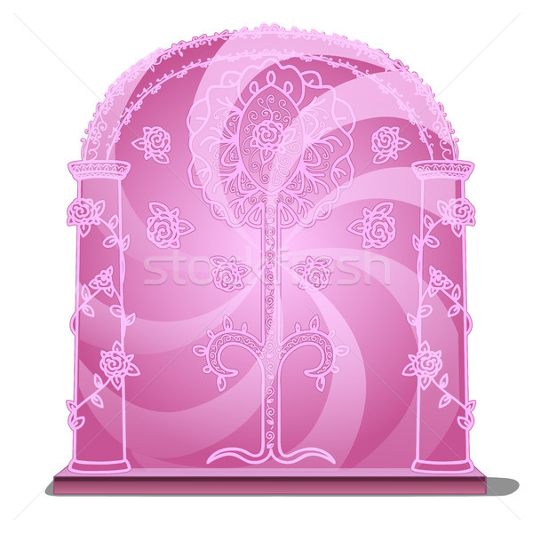 Pink portal isolated on white background. Vector illustration. Stock photo © Lady-Luck