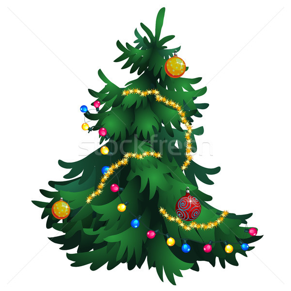 Cartoon árbol de navidad decoraciones aislado blanco vector Foto stock © Lady-Luck