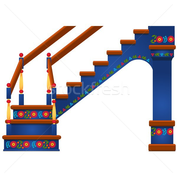 Wooden staircase with ornament in Slavic style isolated on white background. Vector cartoon close-up Stock photo © Lady-Luck