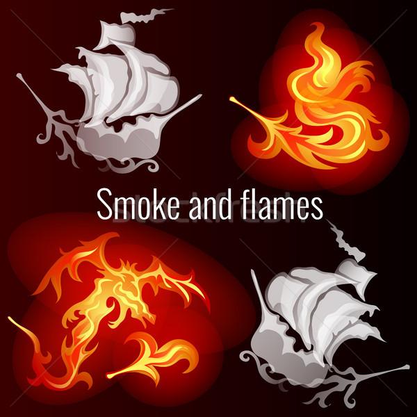 Kroki poster yangın duman desen form Stok fotoğraf © Lady-Luck