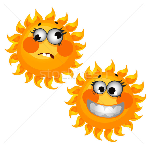 Ingesteld grappig lachend zon geïsoleerd witte Stockfoto © Lady-Luck
