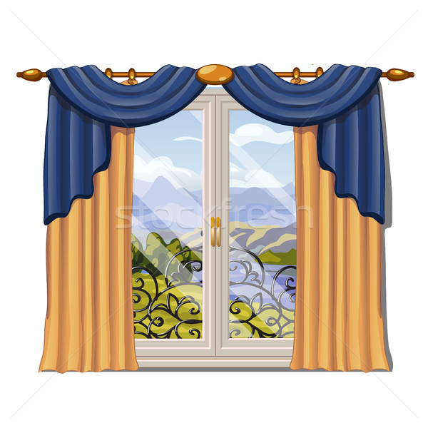 The window overlooking the sunny meadow of green grass in summer isolated on white background. Inter Stock photo © Lady-Luck