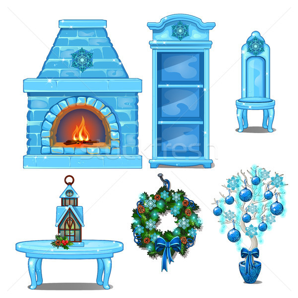 Set of furniture and accessories interior made of ice. Fireplace, bookcase, chair, table, wreath. Sk Stock photo © Lady-Luck