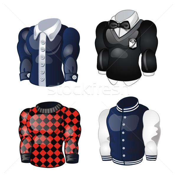 Set of animated mens shirts and sweaters isolated on white background. Vector cartoon close-up illus Stock photo © Lady-Luck