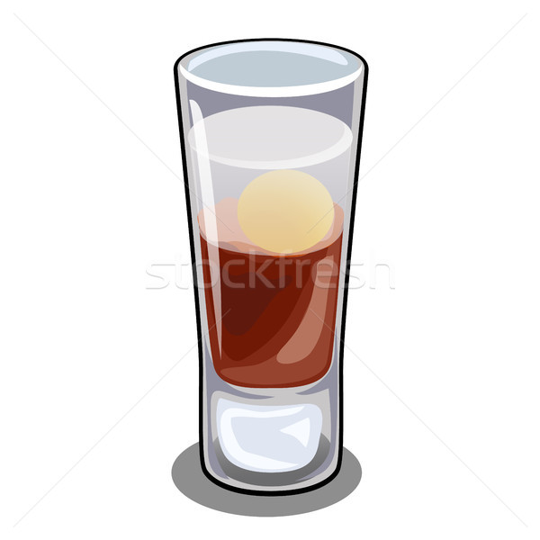 Glass bar cordial glass with cocktail with egg yolk isolated on white background close-up. Recipes o Stock photo © Lady-Luck