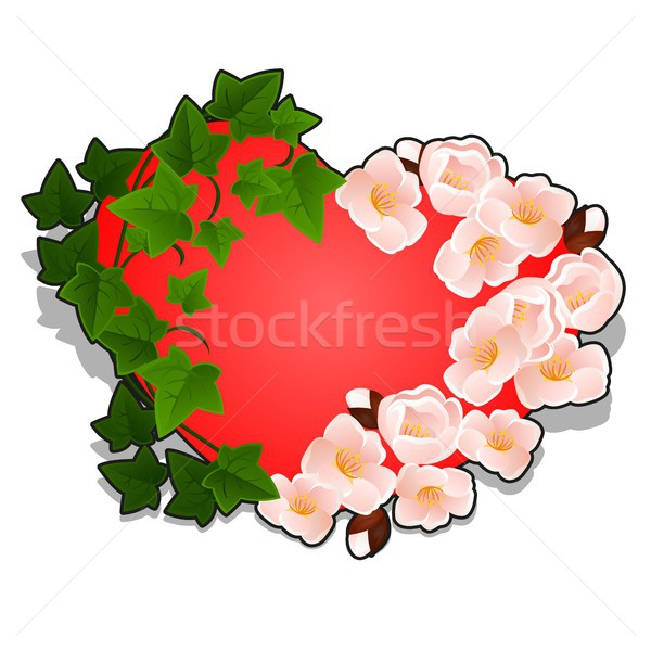 Red heart decorated with cherry blossoms and ivy leaves isolated on white background. Vector cartoon Stock photo © Lady-Luck