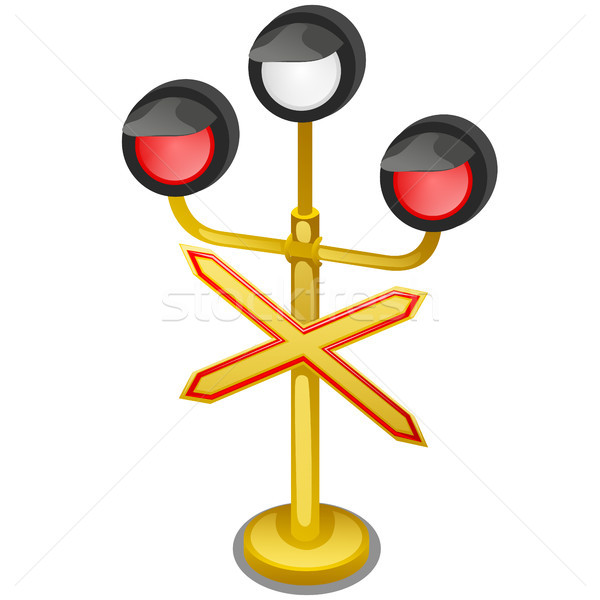Semaphore traffic-light with sign warning Single-track road isolated on white background close-up. V Stock photo © Lady-Luck