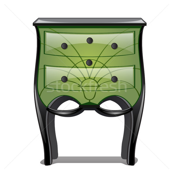 Green bedside table in vintage style isolated on white background. Vector illustration. Stock photo © Lady-Luck