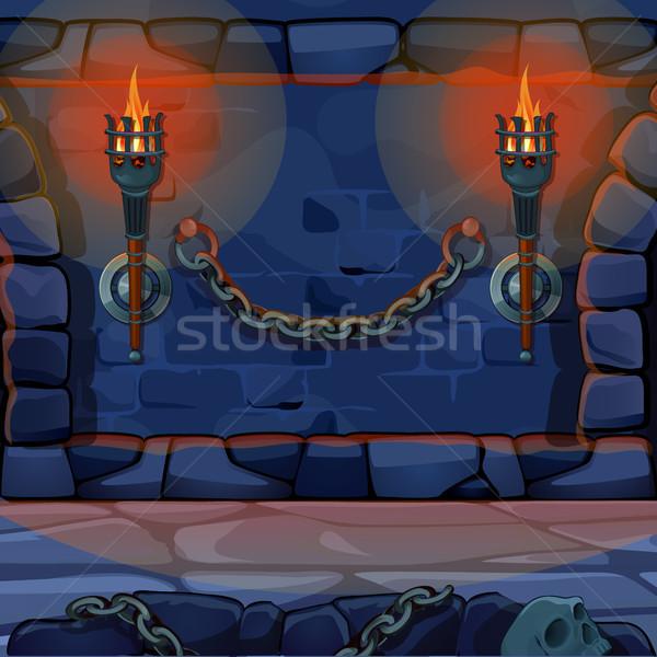 Eski duvar kale yanan vektör karikatür Stok fotoğraf © Lady-Luck