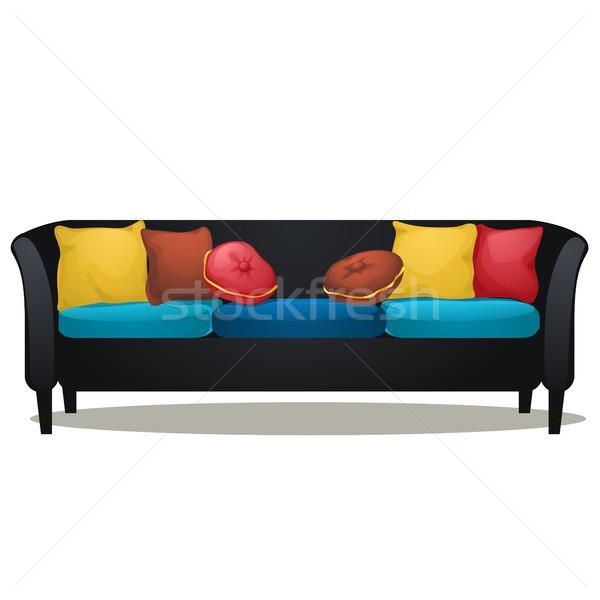 черный диван мягкой изолированный Сток-фото © Lady-Luck