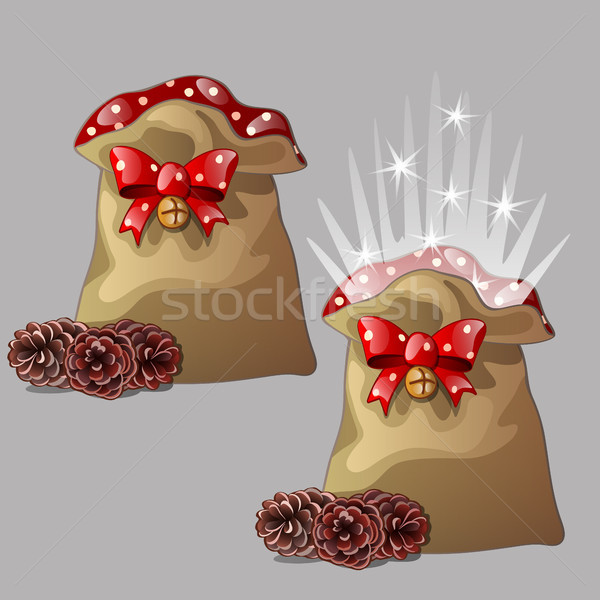 Brown magic pouch with a gift for Christmas or New year with a red ribbon bow with jingle bells and  Stock photo © Lady-Luck