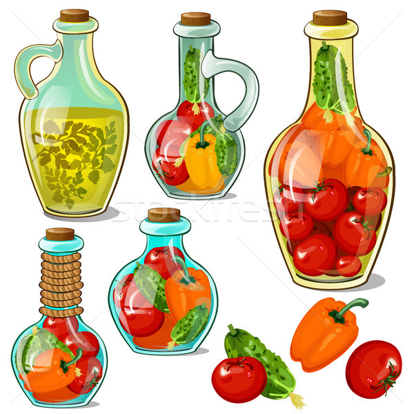 Set of decorative glass bottles with pickled ripe vegetables. Element of interior design on theme of Stock photo © Lady-Luck