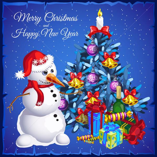 Sjabloon sneeuwpop kerstboom geschenken partij Stockfoto © Lady-Luck