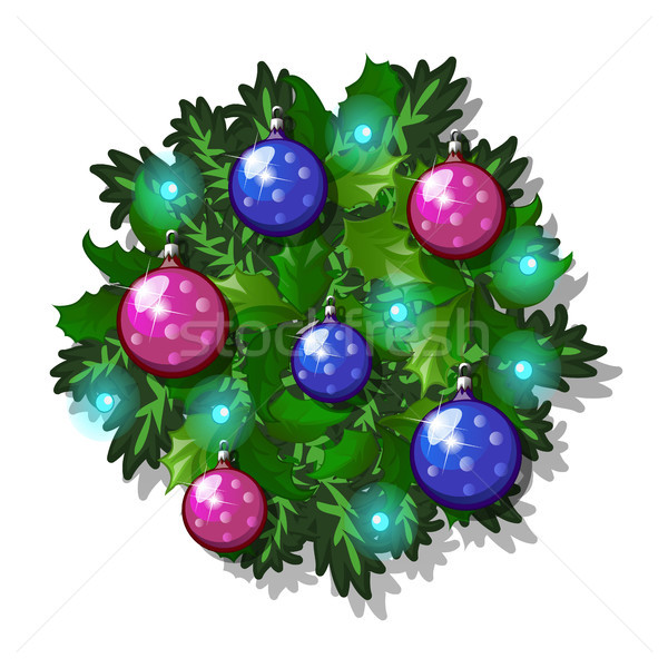 Christmas sketch with decor of fir twigs with glass decorative balls. Sample of the poster, invitati Stock photo © Lady-Luck