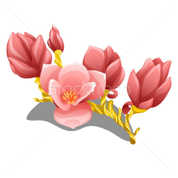 Graceful handmade flowering branch made of gold with delicate pink petals close-up isolated on white Stock photo © Lady-Luck