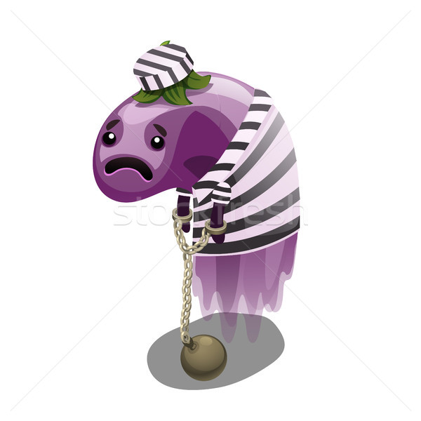 Trapped fancy monster in the form of a weightless eggplant isolated on a white background. Vector il Stock photo © Lady-Luck
