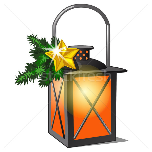 The lantern with candle and twigs of spruce and golden star. Sketch for greeting card, festive poste Stock photo © Lady-Luck