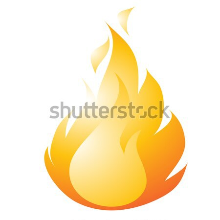 Burning fire drawing in a flat style isolated on a white background. Vector cartoon close-up illustr Stock photo © Lady-Luck