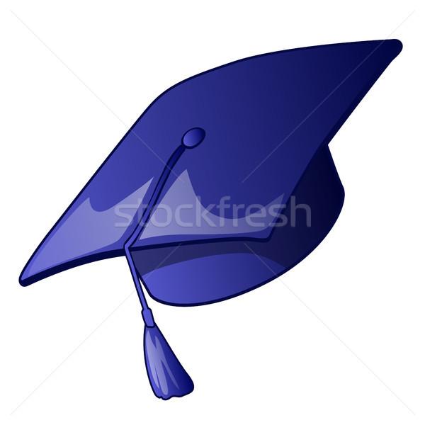 érettségi sapka kék izolált fehér diák Stock fotó © Lady-Luck