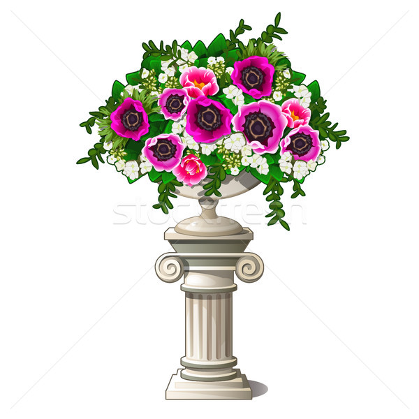 Vintage marble vase with flowers in the form of an ancient column isolated on white background. Elem Stock photo © Lady-Luck