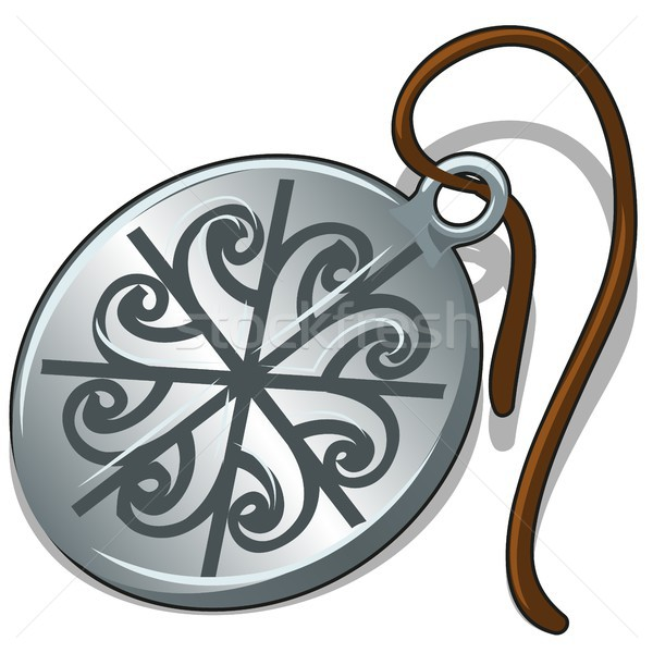 Ancient silver pendant with slavic symbol isolated on white background. Vector cartoon close-up illu Stock photo © Lady-Luck