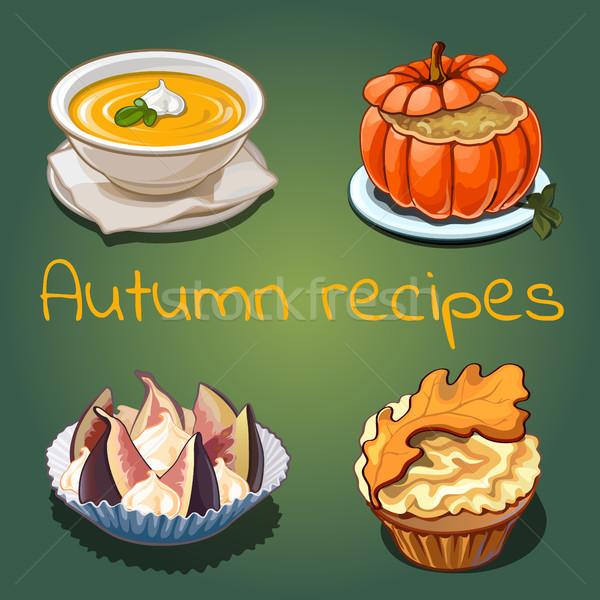 Set of dishes and food on the theme of autumn isolated on green background. Vector cartoon close-up  Stock photo © Lady-Luck