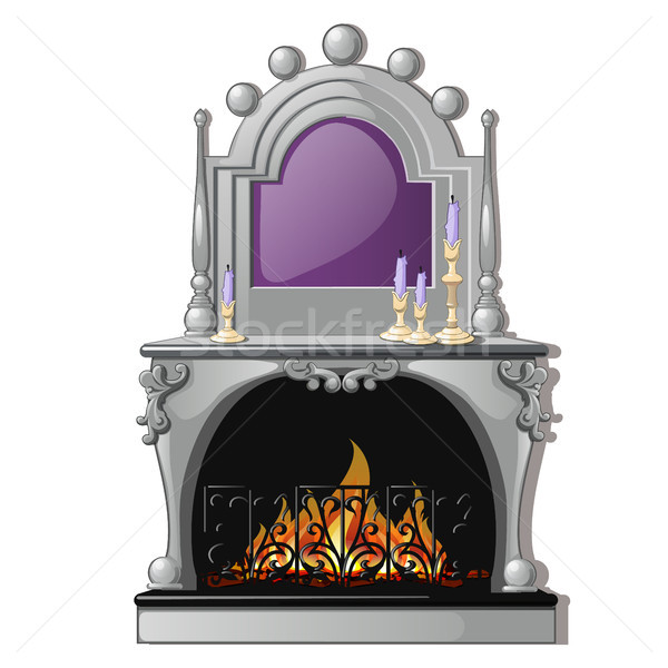 Vintage fireplace and a purple candle in a candlestick isolated on a white background. Vector cartoo Stock photo © Lady-Luck