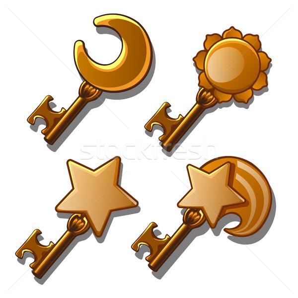 набор золото ключами астрономический двери фон Сток-фото © Lady-Luck