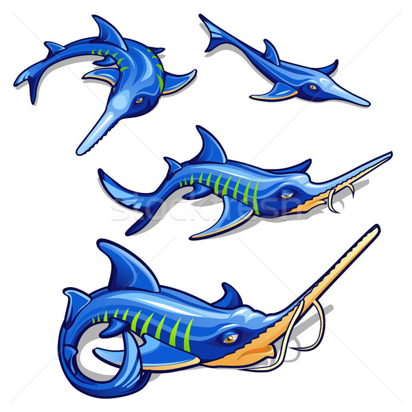 The growth stage of blue sturgeon isolated on white background. Commercial fish. Cartoon vector clos Stock photo © Lady-Luck