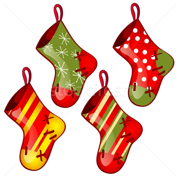 Set of hanging colored sock red and green colors isolated on white background. Sketch for greeting c Stock photo © Lady-Luck