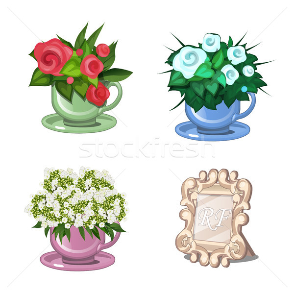 Set of flowering plants in cups isolated on white background. Table frame for pictures or photos. Ve Stock photo © Lady-Luck