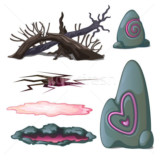 A set of geological objects and the elements of wildlife isolated on white background. Vector illust Stock photo © Lady-Luck