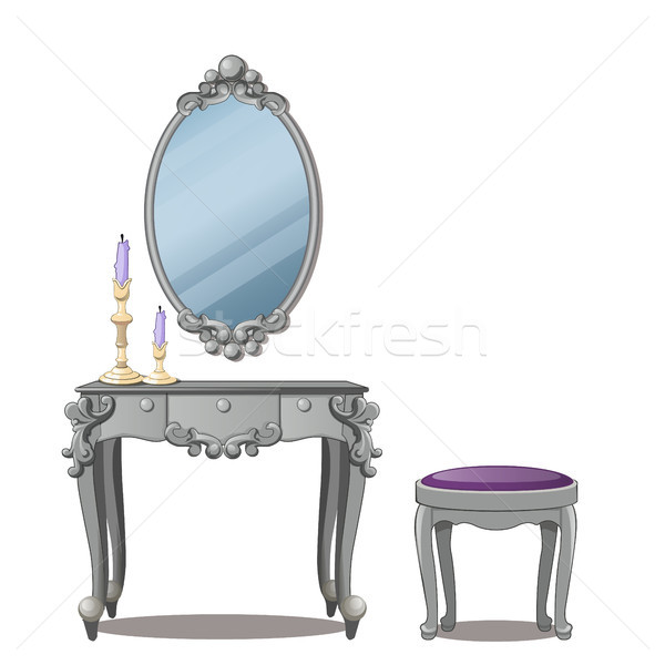 A vintage table for cosmetics and a mirror with frame, isolated on white background. Vector illustra Stock photo © Lady-Luck