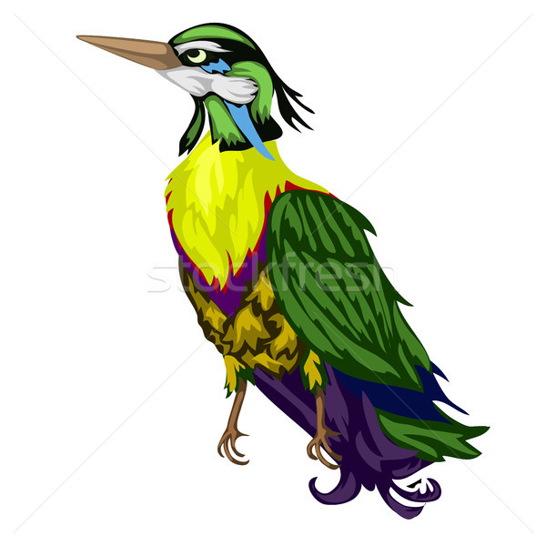 Brightly colored tropical bird isolated on a white background. Vector cartoon close-up illustration. Stock photo © Lady-Luck