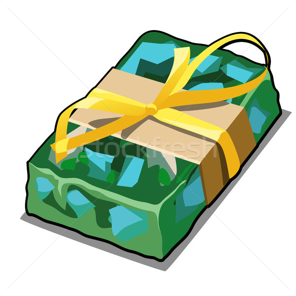 Handmade soap green with splashes of blue pieces. Cartoon gift in the military paratrooper style wit Stock photo © Lady-Luck