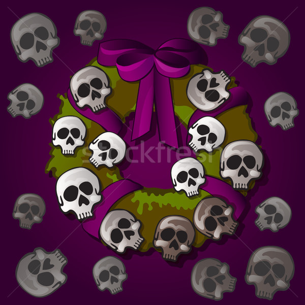 плакат открытки стиль Хэллоуин праздник венок Сток-фото © Lady-Luck